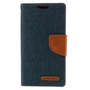 Canvas PU kožené/textilní pouzdro na Sony Xperia Z5 Compact - tmavěmodré - 3