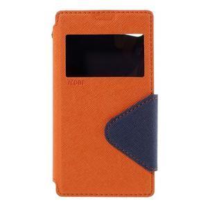 Pouzdro s okýnkem na Sony Xperia Z5 Compact - oranžové - 3