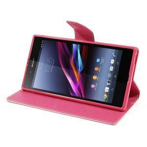 Peněženkové PU kožené pouzdro na Sony Z Ultra - růžové - 3