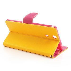 Peněženkové PU kožené pouzdro na Sony Z Ultra - žluté - 3