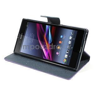 Peněženkové PU kožené pouzdro na Sony Z Ultra - fialové - 3