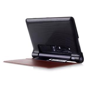 Polohovatelnotelné PU kožené pouzdro na Lenovo Yoga Tab 3 8.0 - hnědé - 3