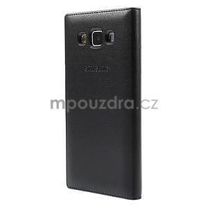 PU kožené pouzdro s okýnkem na Samsung Galaxy A5 - černé - 3