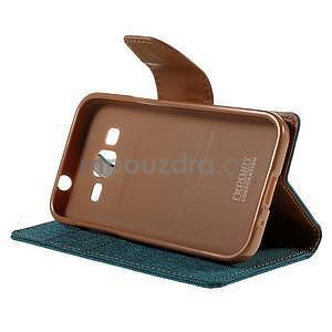 Stylové textilní/PU kožené pouzdro na Samsung Galaxy Core Prime - zelenomodré - 3