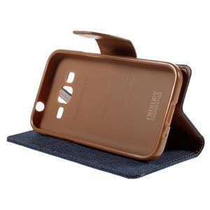 Stylové textilní/PU kožené pouzdro na Samsung Galaxy Core Prime - modré - 3