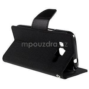 Stylové textilní/PU kožené pouzdro na Samsung Galaxy Core Prime - černé - 3