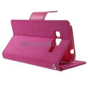 Stylové textilní/PU kožené pouzdro na Samsung Galaxy Core Prime - růžové - 3
