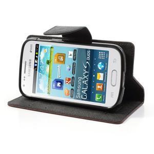 Diary pouzdro na mobil Samsung Galaxy S Duos/Trend Plus - hnědé/černé - 3