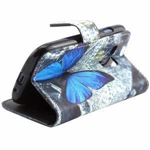 Peněženkové pouzdro na Samsung Galaxy S3 mini - modrý motýl - 3