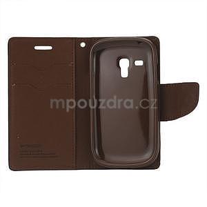 Diary peněženkové pouzdro na mobil Samsung Galaxy S3 mini - černé/hnědé - 3