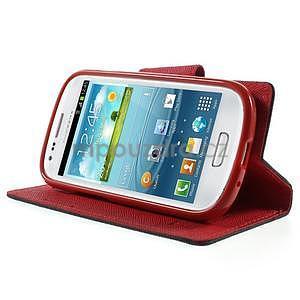 Diary peněženkové pouzdro na mobil Samsung Galaxy S3 mini - černé/červené - 3