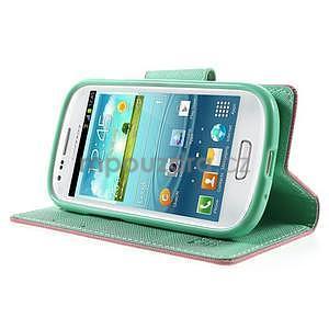 Diary peněženkové pouzdro na mobil Samsung Galaxy S3 mini - růžové/azurové - 3