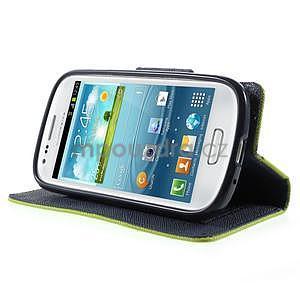 Diary peněženkové pouzdro na mobil Samsung Galaxy S3 mini - zelené/tmavěmodré - 3