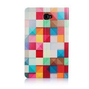 Picture polohovatelné pouzdro na Samsung Galaxy Tab A 10.1 (2016) - čtverečky - 3