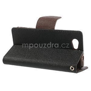 Fancy peněženkové pouzdro na Sony Xperia Z1 Compact - černé/hnědé - 3