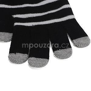 Pruhované rukavice pro práci s mobilem - černé - 3