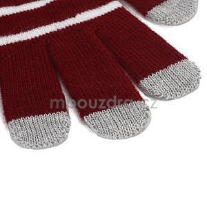 Pruhované rukavice pro práci s mobilem - červené - 3