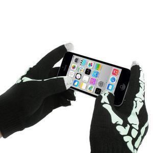 Skeleton rukavice na dotykové telefony - černé/bílé - 3