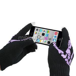 Skeleton rukavice na dotykové telefony - černé/fialové - 3