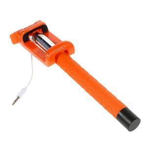 Selfie tyč s automatickým spínačem na rukojeti - oranžová - 3
