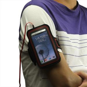 Fitness sportovní pouzdro na mobil (140 x 75 mm) - černé/červené - 3