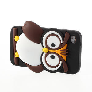 Silikonové pouzdro na iPod Touch 4 - hnědá sova - 3