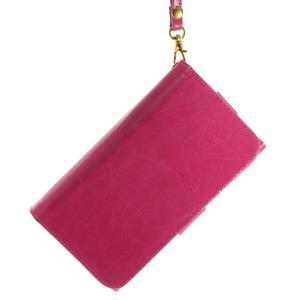 Univerzálne PU kožené puzdro pre mobil do 160 x 80 mm - rose - 3