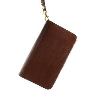 Univerzální PU kožené pouzdro na mobil do 160 x 80 mm - hnědé - 3