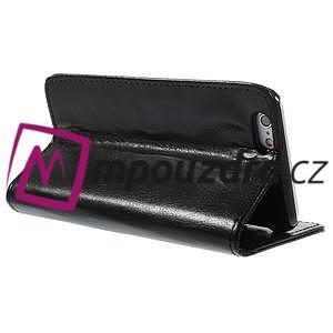 Peněženkové PU kožené pouzdro na iPhone 6, 4.7 - černé - 4