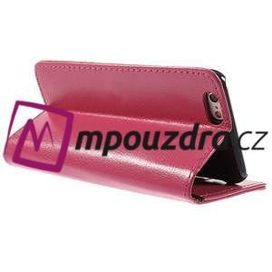 Peněženkové PU kožené pouzdro na iPhone 6, 4.7 - růžové - 4