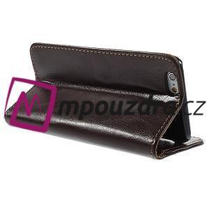 Peněženkové PU kožené pouzdro na iPhone 6, 4.7 - hnědé - 4