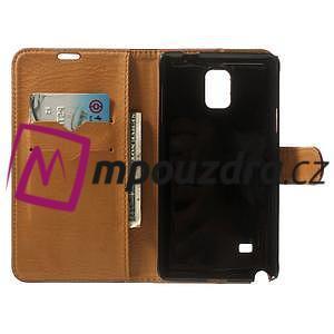 Peněženkové PU kožené pouzdro na Samsung Galaxy Note 4- hnědé - 4
