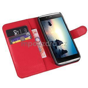 Peněženkové pouzdro na Alcatel One Touch Idol Alpha 6032 A - červené - 4