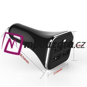 STX univerzální autonabíječka se 4 výstupy USB 5.2A - černá - 4