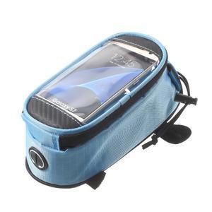 Brašna na kolo s úložným prostorem pro mobily do rozměru 138,3 x 67,1 × 7,1 mm - modrá - 4