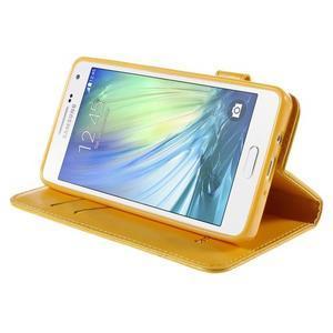 Kočička Domi PU kožené pouzdro na Samsung Galaxy A5 - žluté - 4