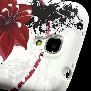 Gelové pouzdro pro Samsung Galaxy S4 i9500- červený květ - 4