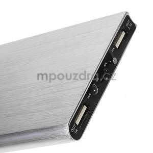 Luxusní kovová externí nabíječka power bank 12 000 mAh - stříbrná - 4