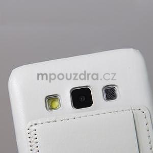 PU kožený/plastový kryt se stojánkem na Samsung Galaxy A3 - bílý - 4