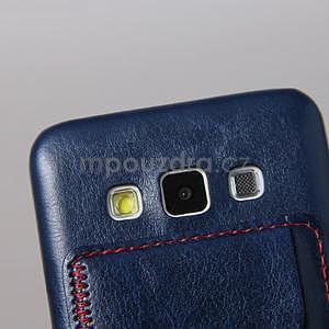 PU kožený/plastový kryt se stojánkem na Samsung Galaxy A3 - modrý - 4