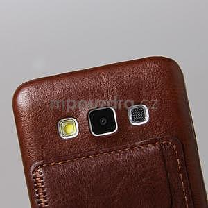 PU kožený/plastový kryt se stojánkem na Samsung Galaxy A3 - hnědý - 4