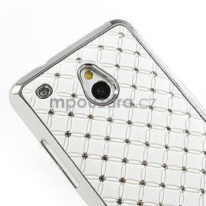 Drahokamové pouzdro pro HTC one Mini M4- bílé - 4