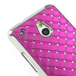 Drahokamové pouzdro pro HTC one Mini M4- růžové - 4