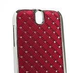 Drahokamové pouzdro pro HTC One SV- červené - 4/5