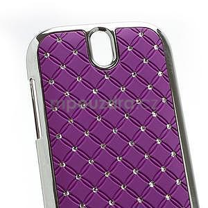 Drahokamové pouzdro pro HTC One SV-fialové - 4
