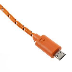 Tkaný odolný micro USB kabel s délkou 2m - oranžový - 4