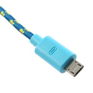 Tkaný odolný micro USB kabel s délkou 2m - modrý - 4