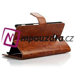 Peněženkové PU kožené pouzdro na Sony Xperia M2 D2302 - hnědé - 4