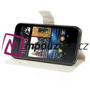 Peněženkové PU kožené pouzdro na HTC Desire 310- bílé - 4