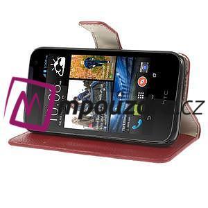 Peněženkové PU kožené pouzdro na HTC Desire 310- červené - 4